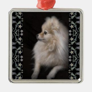 Filhote de cachorro de levantamento adoràvel ornamento quadrado cor prata