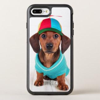 Filhote de cachorro do Dachshund que veste o Capa Para iPhone 8 Plus/7 Plus OtterBox Symmetry