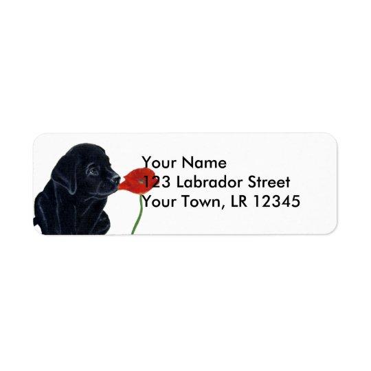 Filhote de cachorro e papoila pretos de Labrador Etiqueta Endereço De Retorno