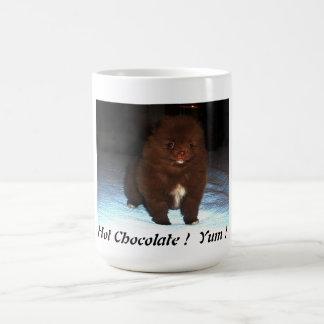 Filhote de cachorro pomeranian do chocolate na caneca de café