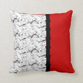Filigrana preto & branco & vermelho travesseiro de decoração