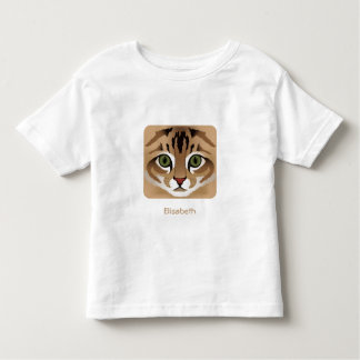 Fim bonito da cara do gato de gato malhado acima tshirts