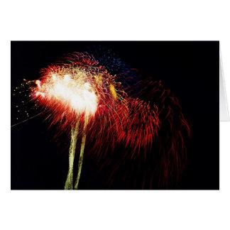 Final dos fogos-de-artifício cartão