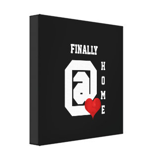 Finalmente em casa coração vermelho branco preto impressão em tela
