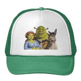 Fiona, Shrek, Puss nas botas, e asno Boné