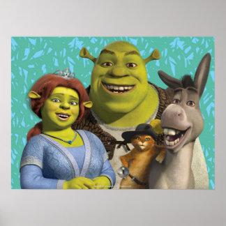 Fiona, Shrek, Puss nas botas, e asno Pôster