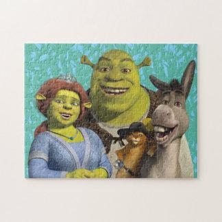 Fiona, Shrek, Puss nas botas, e asno Quebra-cabeça