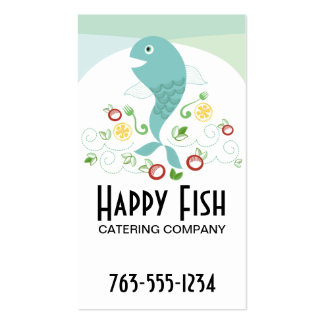 Fish dinner seafood platter chef catering biz card business card