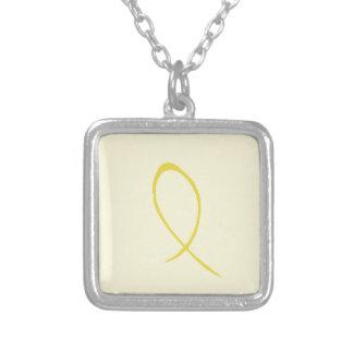 Fita amarela customizável colar com pendente quadrado