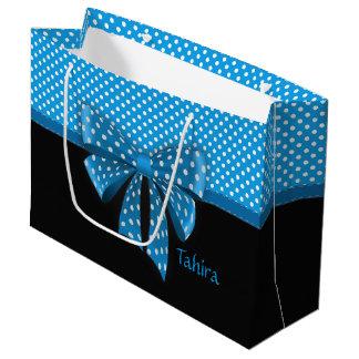 Fita azul e bolinhas sacola para presentes grande