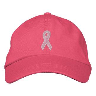 Fita cor-de-rosa da consciência boné bordado
