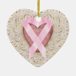Fita cor-de-rosa do coração - SRF Ornamento De Cerâmica Coração