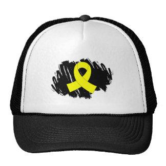 Fita do amarelo do cancer de bexiga com Scribble Bone
