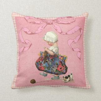Fita do rosa da menina da forma do vintage travesseiro de decoração