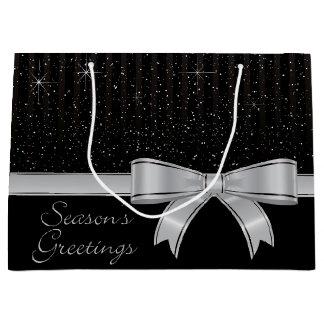 Fita e estrelas elegantes sacola para presentes grande