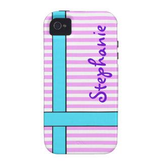 Fitas azuis e cor-de-rosa capa para iPhone 4/4S