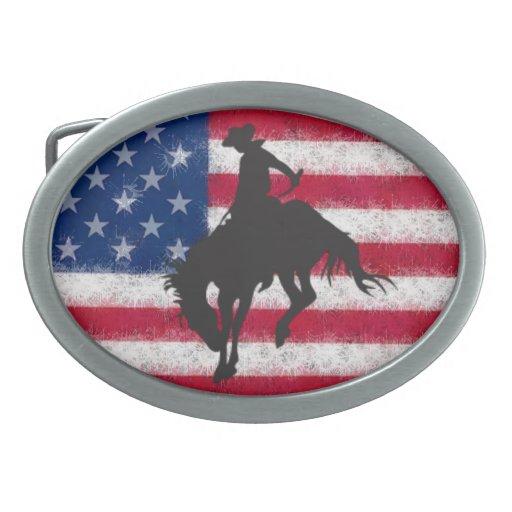 Fivela de cinto Bucking do cavalo da bandeira