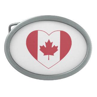 Fivela de cinto do coração da bandeira de Canadá