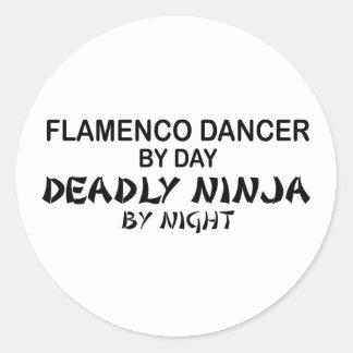 Flamenco Ninja mortal em a noite Adesivo