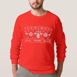 Flamingle toda a camisola feia do Natal da maneira T-shirt