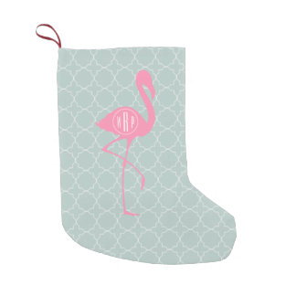 Flamingo cor-de-rosa do monograma + Quatrefoil Meia De Natal Pequena