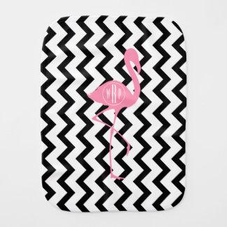 Flamingo cor-de-rosa Monogrammed + Chevron preto Fraldinhas De Boca