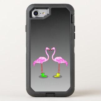 Flamingos cor-de-rosa engraçados que vestem botas capa para iPhone 7 OtterBox defender