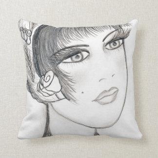 Flapper extravagante - preto e branco travesseiro de decoração