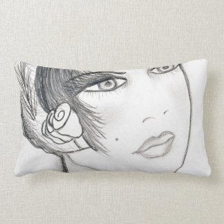 Flapper extravagante - preto e branco travesseiro