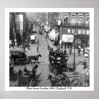 Fleet Street Londres Inglaterra 1901 Poster