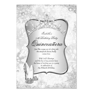 Floco de neve 2 da prata do país das maravilhas do convite 12.7 x 17.78cm