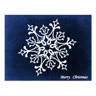 Floco de neve branco no Feliz Natal azul Cartão Postal