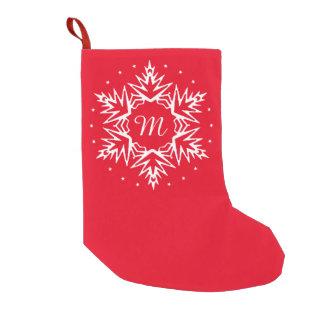 Floco de neve do ano novo do monograma bota de natal pequena