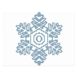 Floco de neve do azul da arte do pixel cartão postal