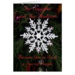 Floco de neve do cartão de Natal da filha e do mar