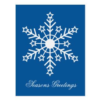 Floco de neve no azul cartão postal
