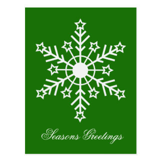 Floco de neve no verde cartão postal