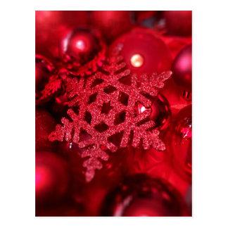 Floco de neve sparkly vermelho cartão postal