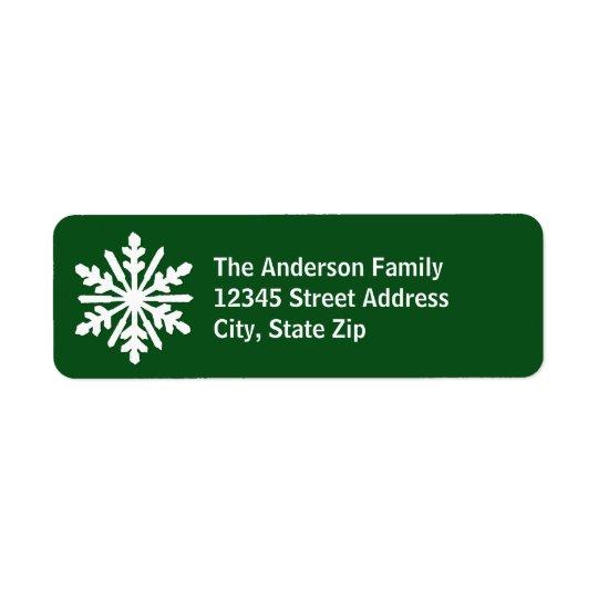 Floco de neve verde & branco - etiqueta de etiqueta endereço de retorno