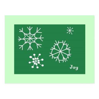 Floco de neve verde da alegria cartao postal