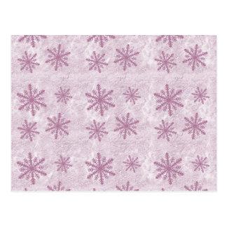 Flocos de neve 1 - Rosa - Cartão Postal