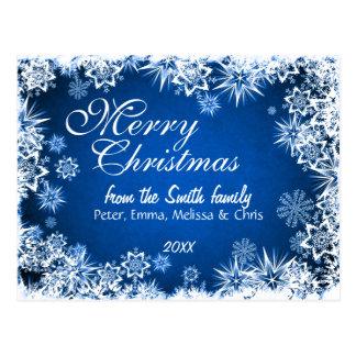 Flocos de neve abstratos elegantes azuis cartão postal