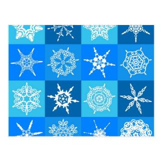 Flocos de neve azuis cartão postal