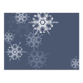 Flocos de neve azuis/cinzentos sofisticados cartão postal
