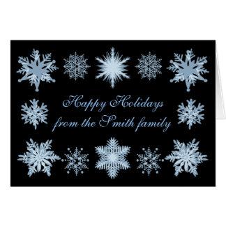 Flocos de neve azuis festivos cartão