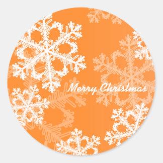Flocos de neve bonitos da laranja e do White Adesivo