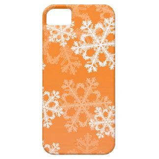 Flocos de neve bonitos da laranja e do White Capa Para iPhone 5