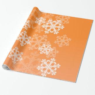 Flocos de neve bonitos da laranja e do White Papel De Presente