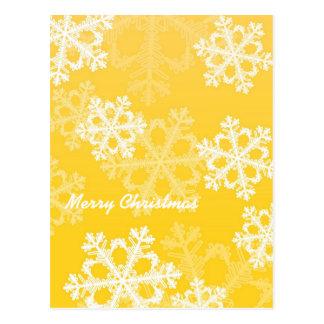 Flocos de neve bonitos do amarelo e do White Cartão Postal