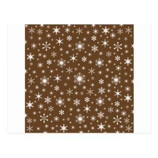 Flocos de neve - branco em Brown escuro Cartão Postal